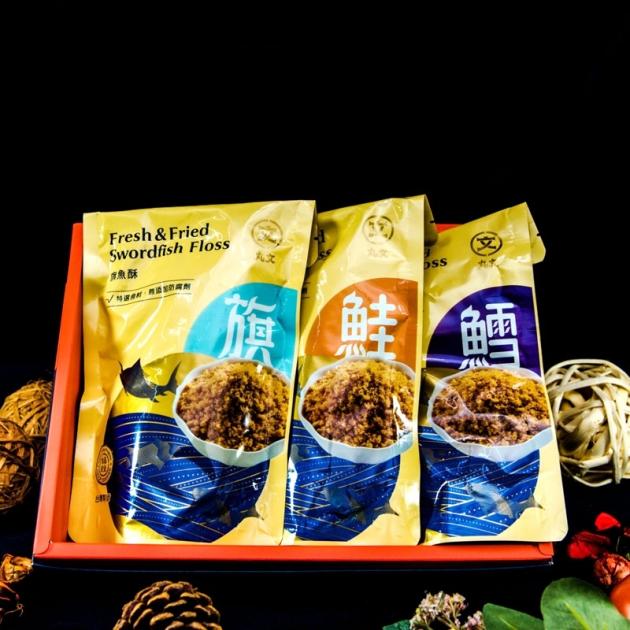 丸文寶貝禮盒(旗魚酥220g+鮭魚酥220g+鱈魚酥220g) 1