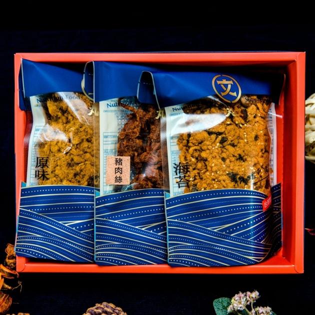 丸文肉多多禮盒(原味肉鬆240g+海苔肉鬆240g+豬肉絲120g) 1