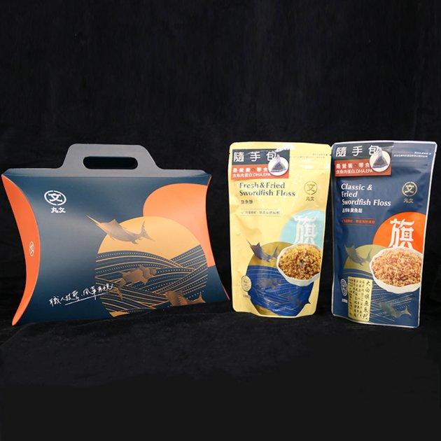隨手包雙享禮盒(古早味旗魚鬆x1包+旗魚酥 x1包) 魚鬆口感富含嚼勁 魚酥口感綿密 1