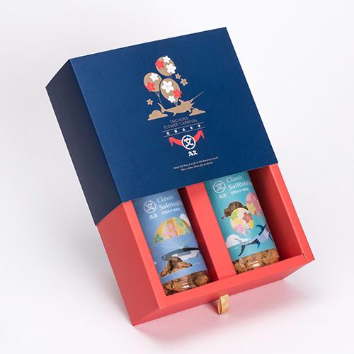 花都嘉年華禮盒(旗魚穌150g/罐+鮭魚穌150g/罐) 1